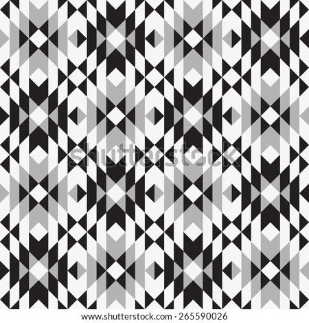 Tribal seamless grey black white geometric pattern. - stock vector