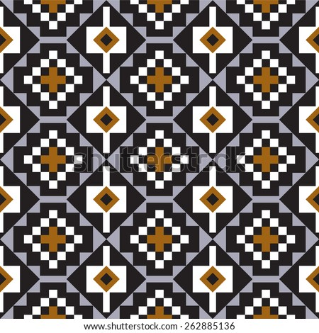 Tribal seamless natural colored geometric pattern. - stock vector