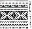 Tribal seamless pattern - aztec black signs on white background - stock vector
