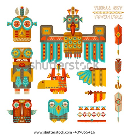 Tribal set. Set of stylized indian totem pole elements. Vector illustration