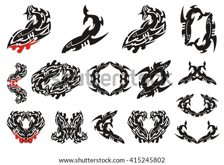 Tribal shark set. Fierce shark tattoo icons, shark frames and other shark symbols with blood drop - stock vector