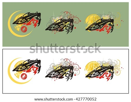 Tribal shark splashes. Grunge shark symbols against the decorative sun with floral elements and blood drops  - stock vector