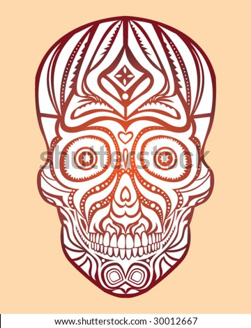 Tribal Skull Tattoo - Vector Illustration