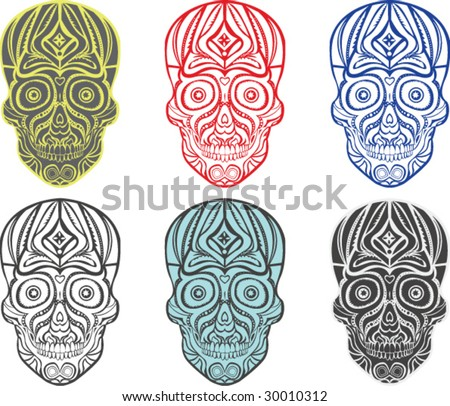 Tribal Skulls - Vector Illustration