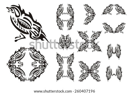Tribal sparrow and sparrows symbols. Stylized House Sparrow. Set of the sparrows symbols isolated on a white background - stock vector