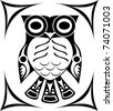 Tribal Spirit Owl Tattoo design - stock vector