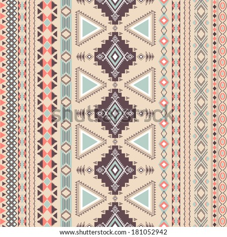 Tribal striped seamless pattern. Geometric aztec background. Can be used in fabric design for making of clothes, accessories; creating decorative paper, wrapping, envelope; in web design, etc. - stock vector