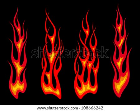 Tribal tattoo flames set for fantasy design or as a logo. Jpeg version also available in gallery - stock vector