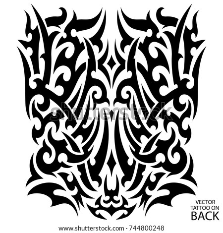 Tribal tattoo on back chest forearm vectores en stock for Vector tattoo sleeve