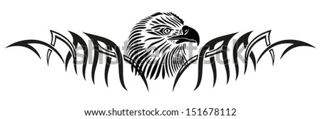 Tribal, tattoo with eagle head