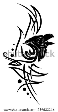Tribal Tattoo with raven, crow  - stock vector