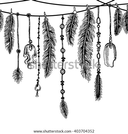 Tribal theme background with hand drawn feathers. Seamless border. Lineart. Vector illustration. Elements in native style for greeting card and postcard, henna and tattoo design.