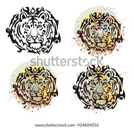 Tribal tiger head splashes. Grunge tiger head with floral splashes and blood drops opposite to the decorative sun. Four options - stock vector
