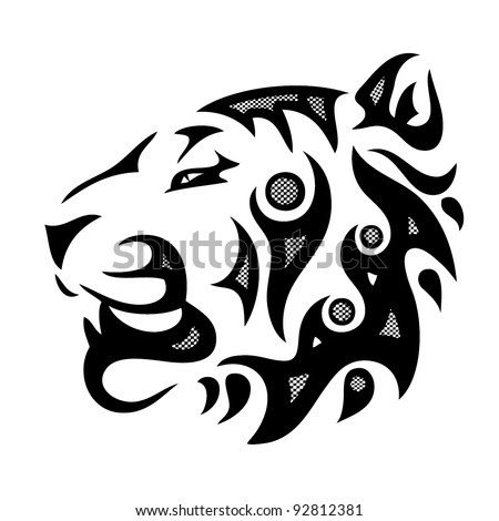 tribal tiger head - vector illustration