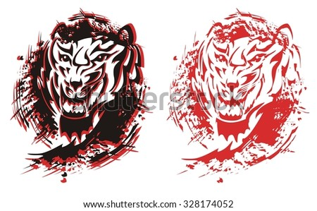 Tribal tiger roar splashes in black and red options - stock vector