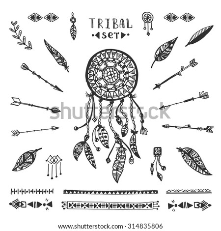 Tribal vector elements collection. Hand drawn indian illustration with dream catcher, arrows and feathers. - stock vector