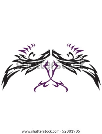 Tribal Wing Tattoo - stock vector