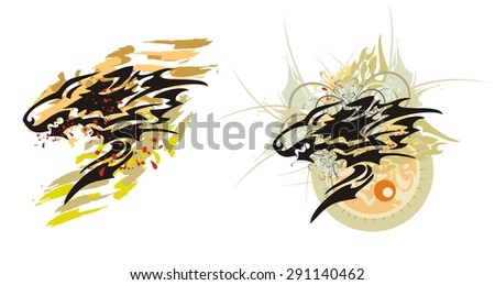 Tribal wolf splashes with blood drops. Wolf grin against the sun with flower elements and bloody splashes and the wolf head in grunge style  - stock vector