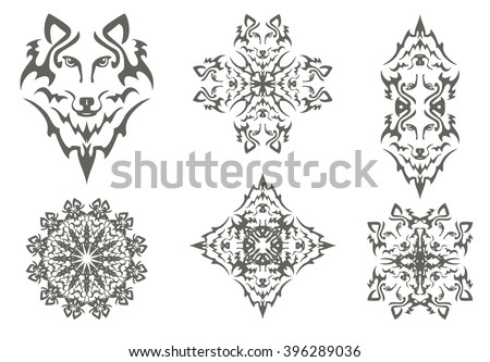 Tribal wolf symbols. The head of a wolf, cross of a wolf, flower of a wolf and double symbols of the head of a wolf isolated on a white background