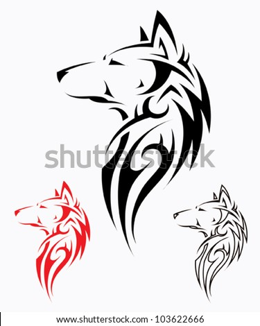 Tribal wolf tattoo - vector illustration - stock vector