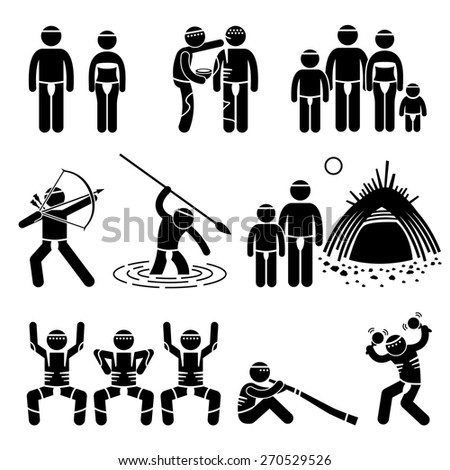 Tribe Native Indigenous Aboriginal People Culture and Tradition Stick Figure Pictogram Icons - stock vector