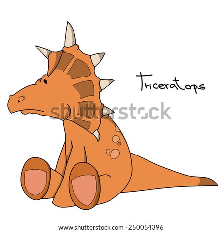 Triceratops. Cartoon dinosaur characters series. - stock vector