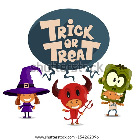 Trick or tread. Vector Illustration of Halloween theme. - stock vector