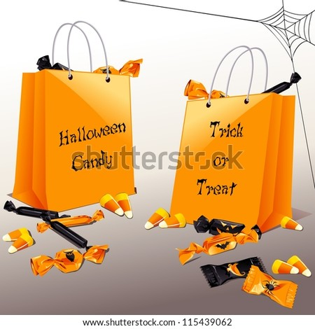 Trick-or-treat bags with candy (eps10); - stock vector
