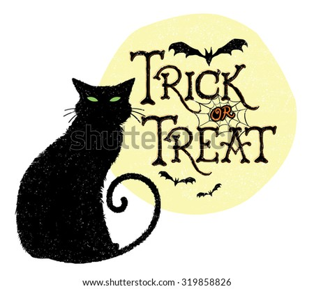 Trick or Treat Black Cat. Vector illustration of a Halloween greeting with a black cat, moon, and bats.