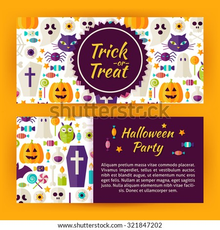 Trick or Treat Halloween Party Flat Style Vector Template Banners Set. Flat Style Design Vector Illustration of Brand Identity for Halloween Promotion. Colorful Pattern for Advertising - stock vector