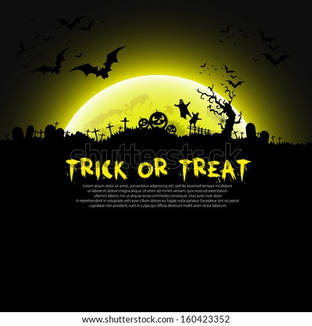 Trick or Treat Halloween sign and theme design background - vector illustration - stock vector
