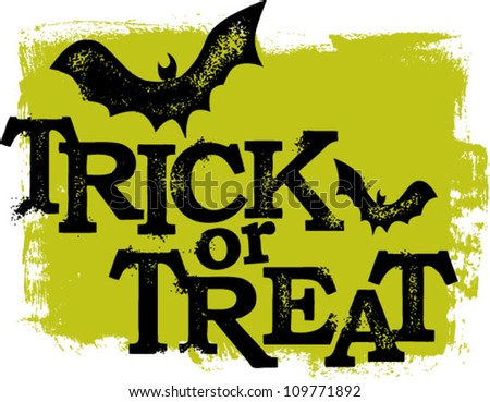Trick or Treat Halloween Text - stock vector
