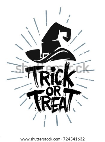 Trick or Treat Halloween text with witch hat