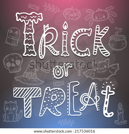 Trick or Treat Happy halloween cartoon sketchy illustration. characters set with cat, bat, pumpkin, candle, cauldron, witch hat, lollipop, candy, corn, spider. - stock vector