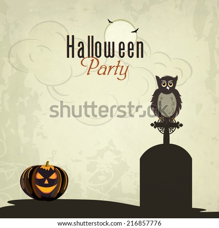 Trick or Treat night party concept with little owl sitting on grave stone, scary pumpkins and spider web on grungy background.  - stock vector