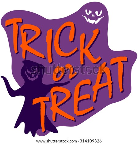 trick or treat text, halloween card with ghost