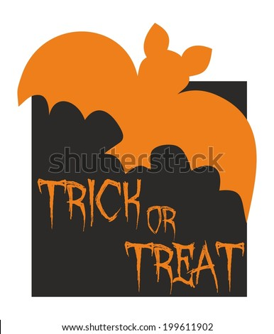 Trick or treat vector card with bat. Orange and black party sign - stock vector
