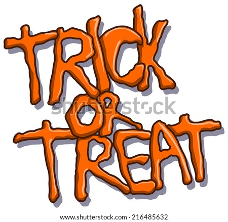 Trick or treat vector Halloween text - stock vector