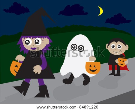 Trick or treaters walking on the sidewalk.  Witch, ghost and vampire.
