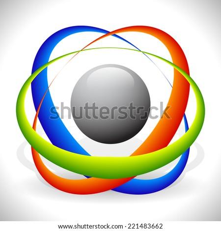 Tricolor molecule, atom icon - stock vector