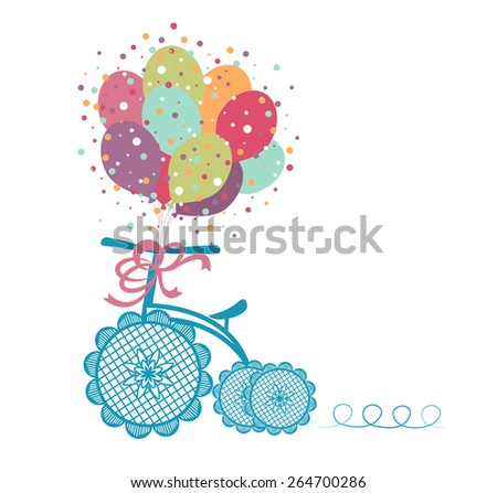 Tricycle with celebration balloons - Whimsical  - stock vector