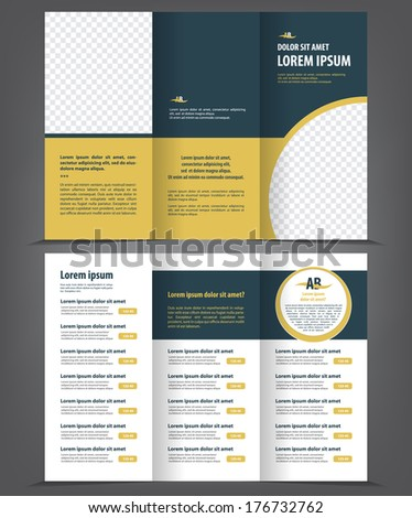 Trifold business brochure print template - stock vector