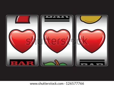 Triple hearts Valentine slot machine - stock vector
