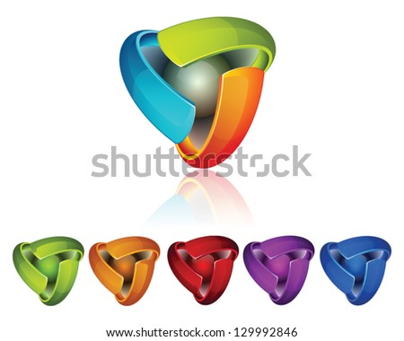 Triple side 3D colorful icons set - stock vector