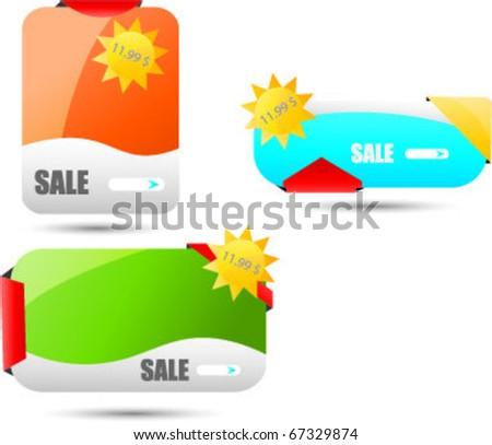 triple web sale banners - stock vector
