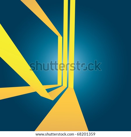 Triple yellow stripes vector layout with 3D perspective and plenty of negative space. - stock vector