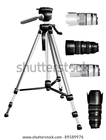 Tripod and lens set eps10 - stock vector