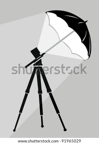 tripod silhouette on gray background, vector illustration - stock vector