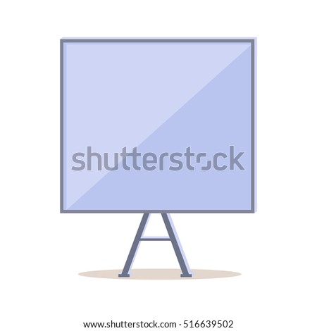 Tripod whiteboard with blank screen. Tripod whiteboard icon. Empty board at a presentation. Tripod icon. Portable three-legged board screen. Isolated object in flat design on white background. Vector
