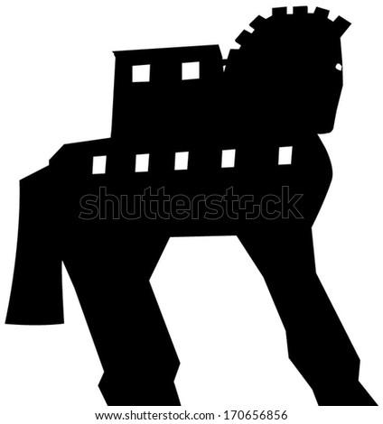 Trojan Horse silhouette vector  - stock vector